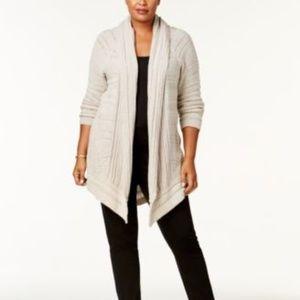 NWT Style Co Plus Size Shawl-Collar Open-Frt Black